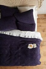 NEW ANTHROPOLOGIE 3 PC MINAMI QUEEN VELVET QUILT & SHAMS NAVY BLUE