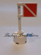 LEGO Minifig DIVER CAUTION FLAG on Pole - Warning Sign
