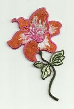 "2 1/4"" x 3 3/4"" Orange Green Pink Day Lily Flower Embroidery applique patch"