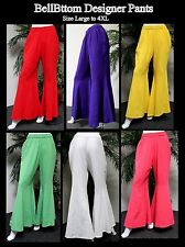 Designer Lagenlook Cotton Gauze Bell Bottom Plus size pants . Loose Fit