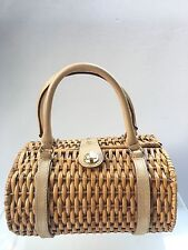 Kate Spade Basket Purse Gold Leather Handles Cute Wicker Straw Picnic Bag Box