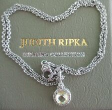 "JUDITH RIPKA RD CANARY CRYSTAL & WHITE SAPPHIRE PENDANT NECKLACE 17"" W BOX/POUCH"