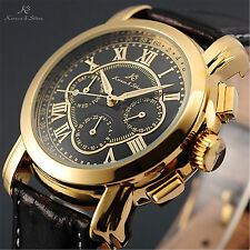 KS Gold Stainless Steel Automatic Mechanical Day Date Black Dial Men's Watch