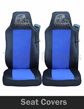 2x VOLVO FH12 FH16 FL FM Seat Covers Tailored HGV Truck Lorry Black / Blue LOGO