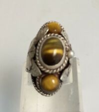 Vintage CBS Taxco Mexico Eagle Sterling Silver Tigers Eye Poison Locket Box Ring