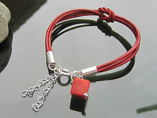 Red Genuine Leather Cord Bracelet with 925 Silver Ends Clasp Chain Coral cube