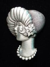 """JJ"" Jonette Jewelry Silver Pewter '1920s Flapper LADY' Pin"