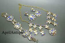 Vintage art deco enamel blue egyptian revival bracelet earrings necklace set