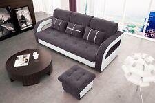SOFA + HOCKER Couch mit Schlaffunktion Polstergarnitur NEUE DESIGN - NINA