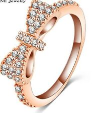 18K ROSE GOLD FILLED BOW RING STACKING 7(O) MADE WITH SWAROVSKI CRYSTALS LADY