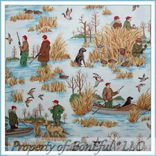 BonEful FABRIC FQ Cotton Quilt VTG Hunt Duck Bird Scenic Gun Dog Boat Fish Canoe