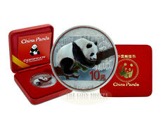 PANDA - ANTIQUE FINISH WITH COLOR - 2016 30 Gram Chinese Fine Silver Coin