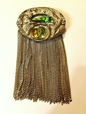 Vintage Iridescent Abalone Shell Crystal Rhinestones PIn Oval Silver Brooch