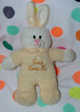 "Bunny YELLOW white  Jesus Loves Me plush stuffed Soft Toy 10"" CHRISHA playful"