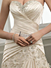 100% new Champagne Wedding Dress Bridal gown Size:6.8.10.12.14.16.or custom made