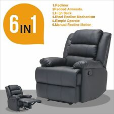 Real Leather Recliner Armchair Lounge Chair Sofa Reclining Ergonomic Black