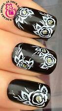 NAIL ART WATER TRANSFERS DECALS STICKERS DECORATION SET YELLOW WILD ROSES #265