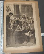 Original LESLIE'S ILLUSTRATED Engraving EASTER SUNDAY IN NEW YORK CITY 1882