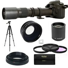 ZOOM LENS 500-1000MM + WIDE ANGLE LENS + TRIPOD FOR CANON REBEL T3 T5 T5I T3I
