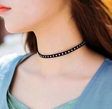 Hot Rock Punk Rivet Black Cord Choker Necklace Retro Hippy Fashion Women Jewelry