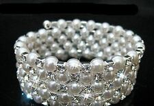 Women Bridal Wedding Pearl Bracelets Sparkly Crystal Bangles diamante 5 Row UK