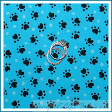BonEful Fabric FQ Cotton Quilt Aqua Blue Black Cat Dog Pet Sm Paw Print Dot Baby