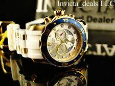 Invicta Men's Scuba Pro Diver Swiss Chrono 18K Gold Plated White/Champagne Watch