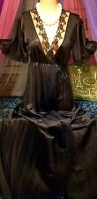 Vintage Nylon Sheer Black Wrap Tie Lace Dressing Peignoir Sweep Robe S M