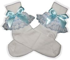 Pretty Blue BOWS Ribbon Lacy Socks for Adult Little Girl Sissy Dress up LEANNE