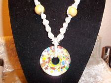 HANDMADE 18 inch HEMP Necklace w/ SILVER & MULTI Color Glass DONUT Pendant H-119