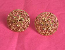 """ESTATE - Solid 18K 18kt Gold Flower FILIGREE DIAMOND Earrings / 9.4 grams / 1"""""""