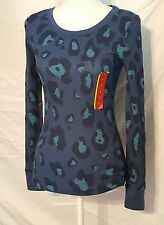 New w/ tag Mossimo Womens Blue Cheetah Print Long Sleeve Thermal Style SZ Small