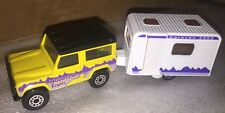 2 Matchbox Outdoors  Land Rover Ninety & Sand Dollar Travel Trailer Caravan 1:64