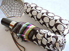 Coach Signature Khaki/Brown Multicolor Stripes Legacy Compact Umbrella NWT