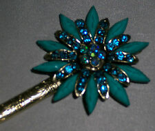 Flower Rhinestones Hair Stick Antique Style Hairpin Chignon Pin, Fast Ship