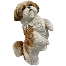 ♛ SANDICAST Dog Figurine Sculpture Shih Tzu Brown Gold White