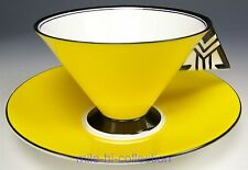 FABULOUS SHELLEY ART DECO MODE YELLOW BLACK WHITE COFFEE TEA CUP SAUCER TEACUP