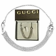€1,440 GUCCI 1973 White 18K Gold Diamond GG Bracelet Bangle Women Lady NEW ITALY