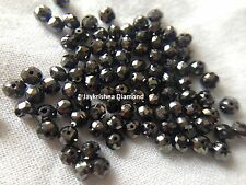 1.05 ct 2.7-2.9 MM Rare Natural Jet Black Loose Round Diamond Beads wt Drilled ,