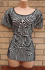 ROMAN WHITE BLACK QUILTED STRIPE ABSTRACT FRILL VTG BLOUSE TUNIC TOP SHIRT 20