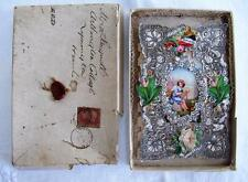 ANTIQUE VICTORIAN LACE DIE CUT VALENTINES GREETING CARD & ORIGINAL BOX c1876