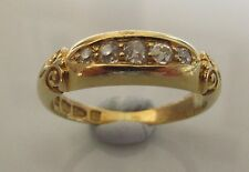 ANTIQUE VICTORIAN (1889) 18CT YELLOW GOLD 5 STONE OLD CUT DIAMOND RING SIZE J.