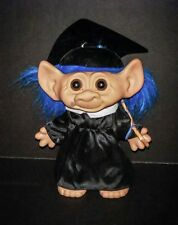 "Vintage UNEEDA Troll Doll Graduation troll  9"" TALL BLUE HAIR"