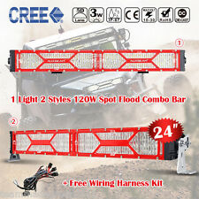 X-Series 24inch 120W CREE Spot Flood Red Frame Off Road LED Light Bar Osram 22""