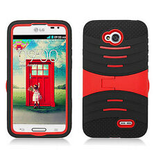 For LG Optimus Exceed 2 VS450 Hard Gel Rubber KICKSTAND Case Phone Cover