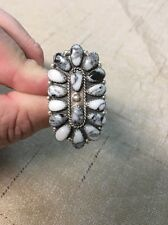 Native American Womens White Buffalo Turquoise Cluster Huge Ring Sz 10 Navajo #3