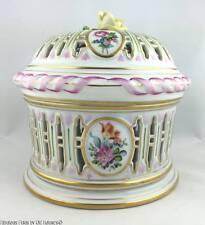 Large HEREND Bouquet Porcelain Pierced Bonbonniere Candy Box Retail $1500+++