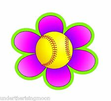 "Cute Fastpitch Softball Daisy 3"" Decal- Perfect for Helmets!"