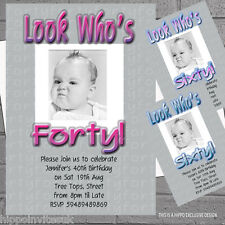 Look Who's 30th 40th 50th 60th Adult Birthday Party Invitations x 50 +envs H0639