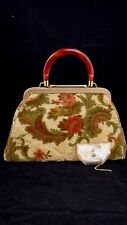Vintage 1950's  J. R. Florida Tapestry Purse Carpet Bag Large Antique Look